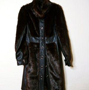 Faux Leather & Fur Black & Brown 70's Style Coat